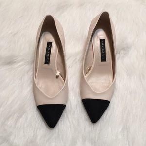 Zara Basic cap toe cream black low heel